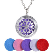 Yumei Jewellery Flower Diffuser Locket Aromatherapy Essential Oil Pendant Vintage Necklace,Antique Silver