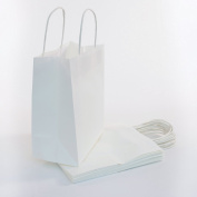 White Kraft Paper Bags with Handles are the Perfect Solution for Baby Shower, Kids Birthday Party Favours(Treats, Goodies & Candy), Boys and Girls Gifts, & Shopping Bulk Set of 100