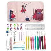 Essential Crochet Set - 9 Ergonomic comfort grip crochet hooks, accessories and roll-up organiser bag case with cute design - MozArt Supplies