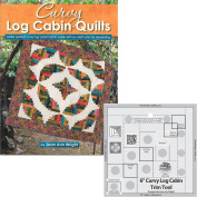 Bundles of Creative Grids Non-Slip Curvy Log Cabin Trim Tools for 15cm Finished Blocks; and Book Curvy Log Cabin Quilts by Jean Ann Wright
