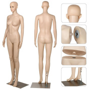 go2buy Female Dress Form Plastic Mannequin Full Body with Metal Base, Great for Displaying, 180cm