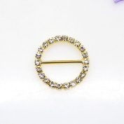 30pcs 25mm x 25mm Golden Round Shaped Rhinestone Buckle Slider for Wedding Invitation Letter