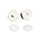 "25 Sets 18mm 3/4"" Thin Round Magnetic Snaps Bag Button Clasps Closure Purse Handbag with Washer Nickel Choice"