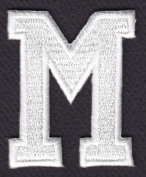 """LETTERS - WHITE BLOCK LETTER """"M"""" (4.8cm ) - Iron On Embroidered Applique Patch"""