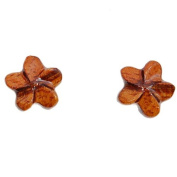 Koa Wood Earrings - Plumeria Stud Mini