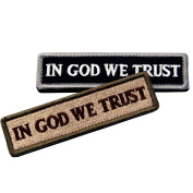 Bundle 2 Pieces - EmbTao In GOD We Trust Embroidered Tactical Morale Velcro Patch
