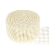 TtoyouU 5.6cm X 10 Yards Pearl Mesh Wrap Ribbon Bead Roll Pearl Trim for Wedding,Party Decorations