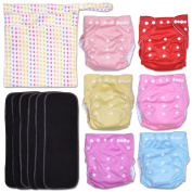 Hearties 13-Piece Baby Gift Set - Pack of 6 Cloth Nappies, 6 Bamboo Charcoal Inserts and WetDry Bag, Baby Gift All in One Cloth Nappies Set E