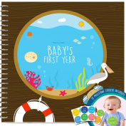 Baby's First Year Memory Book With 12 Milestone Stickers, Under The Sea Edition
