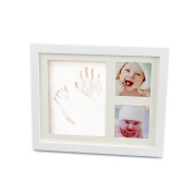 Baby Handprint and Footprint Safe Clay Environmental and Non-Toxic ,Wood Picture Frame Kit For New Born Baby,Baby Keepsake Gift, Preserves Priceless Memories For Baby Registry By Colourful Life White