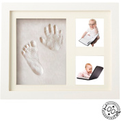 Baby Handprint and Footprint White Frame Kit From Kiddie Famous. A Perfect Memory Piece To Showcase Pictures and Clay Mould Imprints. Bonus Includes Free Decorative Pieces.