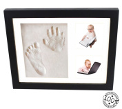 Baby Handprint and Footprint Black Frame Kit From Kiddie Famous. A Perfect Memory Piece To Showcase Pictures and Clay Mould Imprints. Bonus Includes Free Decorative Pieces.