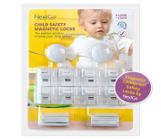 Magnetic Babyproof Locks By NextGo | Strong Adhesive 3M Pads, No Drill Or Screws | 8 Child Safety Locks & Latches With 2 Keys | Fit In Cupboards, Drawers, Desks & More | Easy To Instal & Ebook