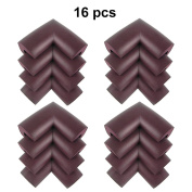 MySit Corner Guards (16 PCS, Brown) Baby Safety Foam Corner Cushion Protectors Cover Toddler Child Proof Soft Anti-Collision Bumpers for Furniture Cabinets Table Desk Wall Glass Corner