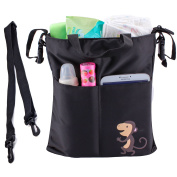 Stroller Organiser Bag Messenger Nappy Bag, EleFox Black Compact Baby Bag for Moms and Dads with Pockets