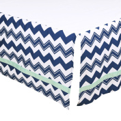 Navy Blue Chevron Tailored Crib Dust Ruffle with Mint Stripe by The Peanut Shell