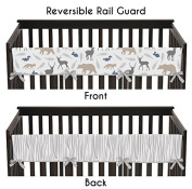 Sweet Jojo Designs Blue Grey and White Woodland Animals Long Front Rail Guard Baby Boy Teething Cover Protector Crib Wrap