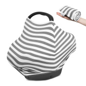 Nursing Cover Scarf Poncho for Breastfeeding / Stretchy Multi-Use Baby Car Seat Canopy / Grocery Cart Cover. Unisex Grey & White. Perfect Baby Shower Gift!