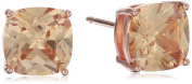 Rose Gold Plated Sterling Silver Cushion Champagne Cubic Zirconia 7mm Stud Earrings