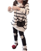 Sunnorn Girls 2pcs Clothing Sets Cat Cartoon Striped Top+Leggings Pants Casual Outfits 3-8 Years