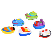 Blulu Floating Boat Toys Rubber Bath Squirt Toys for Baby, Set of 6
