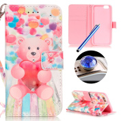 iPhone SE Bling Wallet Case,iPhone 5 5S Diamond Case,Etsue Cute Pink Bear Balloon Rhinestone Pattern Pu Leather Strap Wallet Glitter Magnetic Book Style Card Slots Flip Case Cover with Stand for iPhone SE/5S/5+Blue Stylus Pen+Bling Glitter Diamond Dust ..
