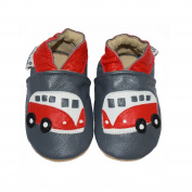 Red White Truck Handmade soft sole genuine Goat leather baby & kids shoes Wolkswagen Hippie Truck