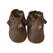 Brown Plain Handmade soft sole genuine Goat leather baby & kids shoes