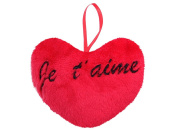 Red péluche Giant Heart Shaped Cushion with Black Satin Ribbon Hanging Gift I Love You Valentine's Day Romantic Love Pleasant Mood and Guaranteed, Je t'aime 10cm 62/6108, Queen