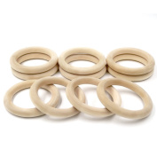 Coskiss 30pcs Baby Wooden Teething Wood Ring Outer Diameter 55 mm(2.16 inch) Teething Rings Throwing Ring Games DIY Necklace and Bracelet Accessories