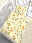 Baby Baby Bed Linen Animals Jungle Yellow - 40 x 60 + 100 x 135 cm Made in Germany