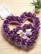 KIUYTGHNB 40cm Rural Style Deep Purple Heart-Shaped Simulation Flower Garland with Toy Bears Plastic Garland QUILT
