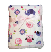Supersoft Superior Quality Luxurious Owl & Elephant Pink/White Pram/Crib Blanket