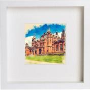 Glasgow Kelvingrove Art Gallery and Museum Framed Art Picture Photo Print - 25cm x 25cm - White
