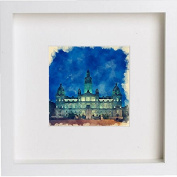 Glasgow City Chambers at Night Framed Art Picture Photo Print - 25cm x 25cm - White