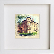 Glasgow Tenement Framed Art Picture Photo Print - 25cm x 25cm - White