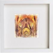 Glasgow University Cloisters Framed Art Picture Photo Print - 25cm x 25cm - White