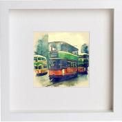 Glasgow Coronation Tram Framed Art Picture Photo Print - 25cm x 25cm - White
