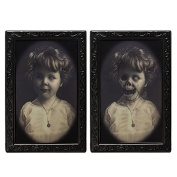 Wishfive Halloween Lenticular Horror 3D Changing Face Horror Portrait Haunted Spooky Decorations