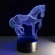 QINQIN Zebra colourful 3D creative touch illusion of energy-saving LED light lamp