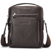 BISON DENIM Mens Genuine leather Messenger Casual Cowhide Shoulder Bag