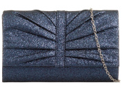 LADIES NEW PLEATED GLITTER SHIMMER CHAIN STRAP EVENING PARTY CLUTCH BAG PURSE