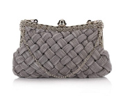 Famoby Pleated Braided Rhinestone Evening bags Clutch Purse for women