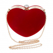 Ashdown Women Evening Clutch Bags Suede Heart Shaped Handbag Party Wedding Shoulder Bag Purse,Red