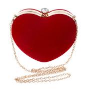 Ashdown Women Evening Clutch Bags Suede Heart Shaped Handbag Party Wedding Shoulder Bag Purse,Red