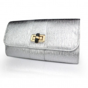 Silver Classic Rotary buckle High-grade Patent leather European and American style Multi-purpose Simple Evening Clutch Party Handbag