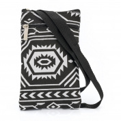 SMALL BLACK & WHITE TRIBAL STRIPE SIDE CROSS SHOULDER BAG/POUCH