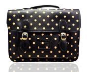 Ladies Girls Polka Dot Large Medium Vintage Work Briefcase School Satchel Bag