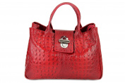 Belli ® Classic Genuine Leather Red Croc Patent Handbag 36 x 25 x 18 CM