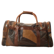 CTM Unisex Travel Bag in Leather with Inner Shoulder Strap - 51x28x22 Cm